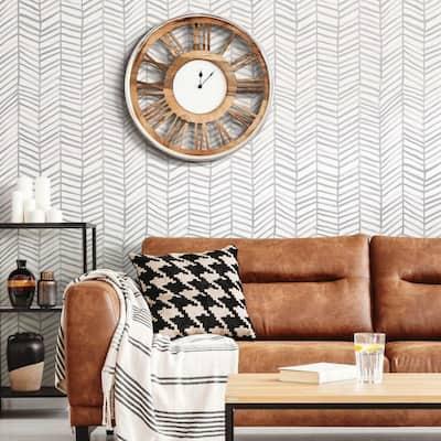 Cat Coquillette Herringbone Grey Peel and Stick Wallpaper (Covers 28.18 sq. ft.)