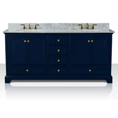 Audrey 72 in. W x 22 in. D Bath Vanity in Heritage Blue w/ Marble Vanity Top in White w/ White Basin and Gold Hardware