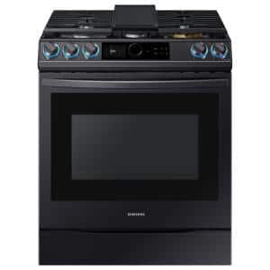 30 in. 6 cu. ft. Slide-In Gas Range with Smart Dial and Air Fry in Fingerprint Resistant Black Stainless Steel