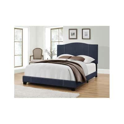All-in-One Modified Camel Back Upholstered Denim Vintage Blue King Bed