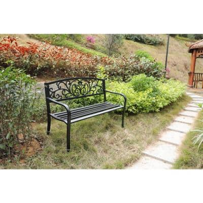 Black Patio Garden Park Yard 50 in. Outdoor Steel Bench Powder Coated with Cast Iron Back