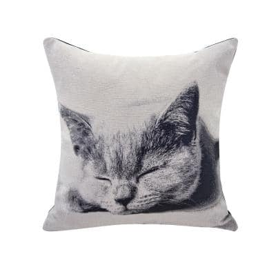 Sleeping Cat Ivory Animal Print Polyester 17 in. x 17 in. Throw Pillow
