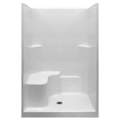 Standard 37 in. x 48 in. x 80 in. 1-Piece Low Threshold Shower Stall in White with LHS Molded Seat and Center Drain