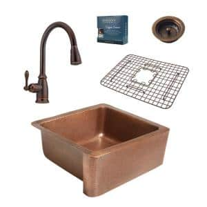 Monet All-in-One Farmhouse 25 in. Single Bowl Copper Kitchen Sink with Pfister Bronze Faucet and Strainer Drain