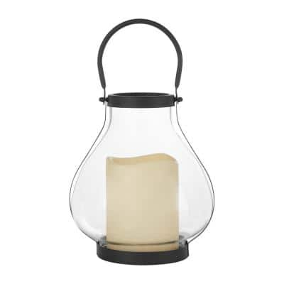 11 in. Glass Hurricane Lantern with Timer Candle