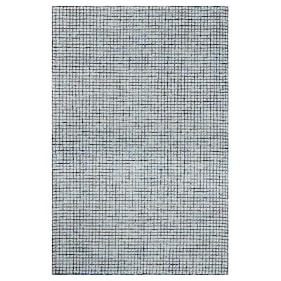 Grid Navy / Ivory 9 ft. x 12 ft. Indoor Area Rug
