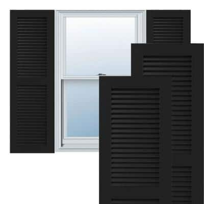"18"" x 66"" True Fit PVC Two Equal Louver Shutters, Black (Per Pair)"