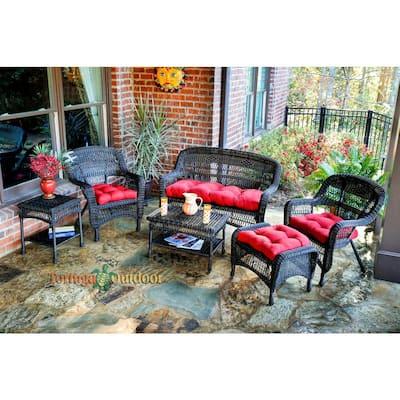 Portside Dark Roast 6-Piece Wicker Patio Seating Set with Lipstick Red Cushions