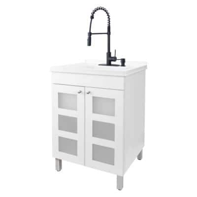24 in. x 21.75 in. x 33.75 in. Thermoplastic Drop-In Utility Sink w/Black Faucet, Soap Dispenser and White MDF Cabinet