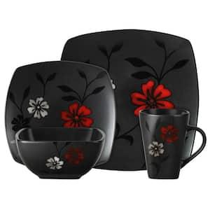 Evening Blossom 16-Piece Casual Black Stoneware Dinnerware Set (Service for 4)