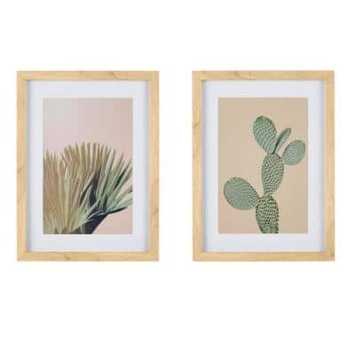 Light Wood Framed Cactus Wall Art with White Matte 16 in H x 12 in. W (Set of 2)