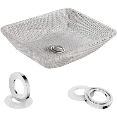 Artistic Crystal Glass Rectangular Vessel Sink with Pop-Up Drain