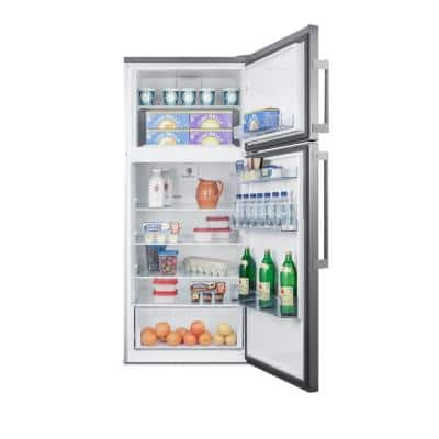 27.63 in. 12.6 cu. ft. Top Freezer Refrigerator in Stainless Steel, Counter Depth