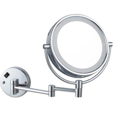 Glimmer 8 in. x 8 in. Wall Mounted LED 3x Round Makeup Mirror in Chrome Finish
