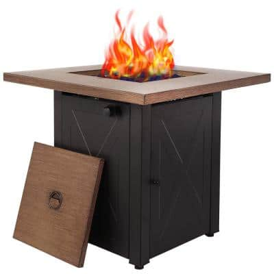 28 in. Square 48000 BTU Steel Propane Fire Pit Table in Wood Look