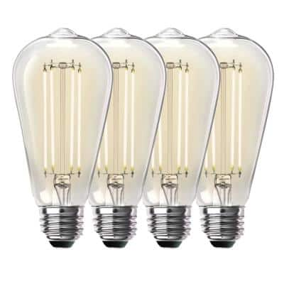 100-Watt Equivalent ST19 Dimmable Straight Filament Clear Glass Vintage Edison LED Light Bulb, Bright White (4-Pack)