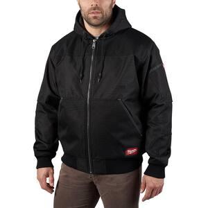 Men's Large Black GRIDIRON Bomber Hooded Jacket