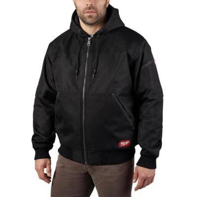 Men's Large Black GRIDIRON Bomber Hooded Jacket