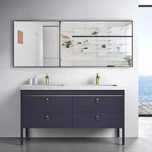 71 in. x 24 in. Oversized Modern Rectangle Metal Framed Bathroom Vanity Mirror