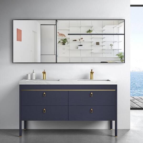 Neu Type 71 In X 24 In Oversized Modern Rectangle Metal Framed Bathroom Vanity Mirror Jj00944aaf The Home Depot