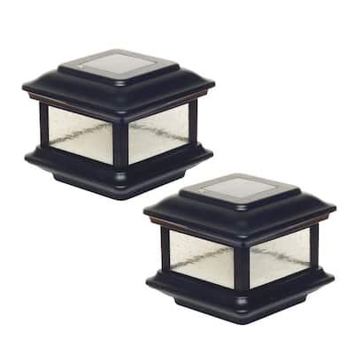 Colonial 3.5 in. x 3.5 in. Outdoor Black Cast Aluminum LED Solar Post Cap (2-Pack)