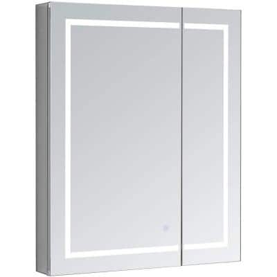 Royale PlusV2 36 in. W x 30 in. H Recessed/Surface Mount Medicine Cabinet with Mirror, Bi-View Door, LED, Defogger