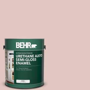 Behr 1 Gal S170 2 Rosewater Urethane Alkyd Semi Gloss Enamel Interior Exterior Paint 390001 The Home Depot