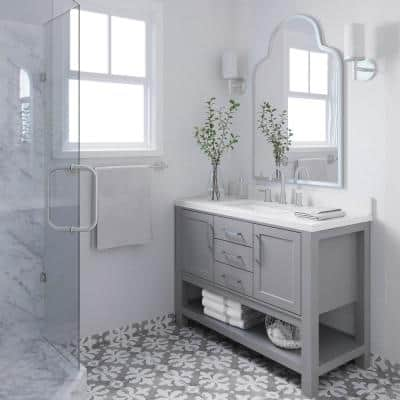 Bayhill 49 in. W x 22 in. D Bath Vanity in Grey with Quartz Vanity Top in White with White Basin