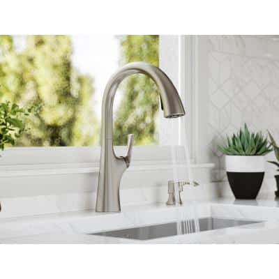 Ladera Single-Handle Pull-Down Sprayer Kitchen Faucet with Soap Dispenser in Spot Defense Stainless Steel