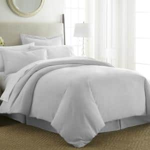 Performance Light Gray Twin 3-Piece Duvet Cover Set