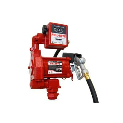 115-Volt 1/3 HP 20 GPM Fuel Transfer Pump With Discharge Hose Manual Nozzle and Mechanical Gallon Meter