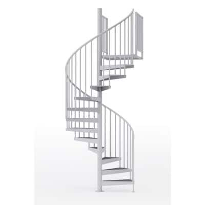Condor White Interior 60in Diameter, Fits Height 93.5in - 104.5in, 2 36in Tall Platform Rails Spiral Staircase Kit