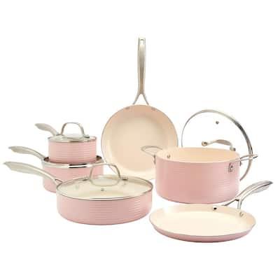 Monaco 10-Piece Blush Aluminum Non-Stick Cookware Set
