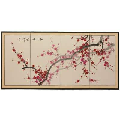 """36 in. x 72 in. """"Plum Blossom Chinese Painting"""" Wall Art"""