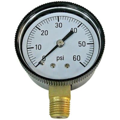 1/4 in. 0-60 LB-CD Pressure Gauge - Bottom Mounted