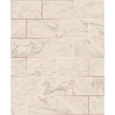 Mirren Beige Marble Subway Tile Paper Peelable Roll (Covers 56.4 sq. ft.)