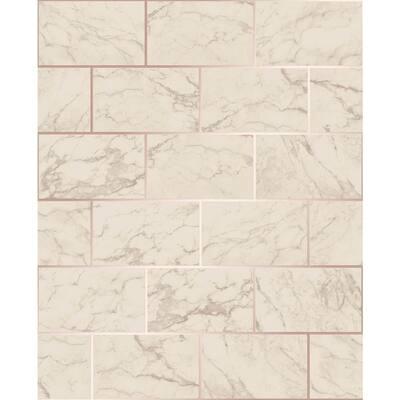 Mirren Beige Marble Subway Tile Beige Wallpaper Sample
