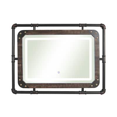 Orvair 23.63 in. x 31.5 in. Contemporary Round Framed Dark Walnut Wall Mirror