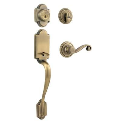 Arlington Antique Brass Single Cylinder Door Handleset with Lido Door Lever Featuring SmartKey Security