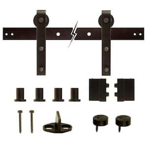 72 in. Dark Oil-Rubbed Bronze Strap Sliding Barn Door Track and Hardware Kit