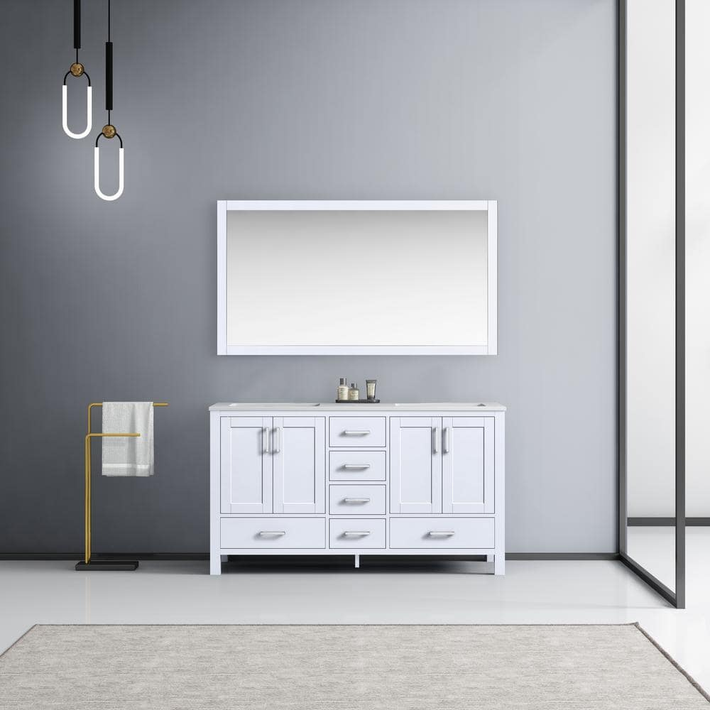 Lexora Jacques 60 Inch Double Bathroom Vanity Cabinet In White With Top And Mirror Lj342260dadsm58 The Home Depot