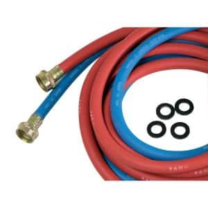 3/4 in. x 3/4 in. x 10 ft. Rubber Washing Machine Hose, EPDM Rubber Tube and Cover ( Pack of 2, 1 Red 1 Blue)
