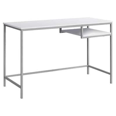 48 in. Rectangular White/Silver Writing Desk with Shelves