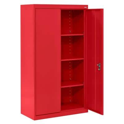 System Series 30 in. W x 64 in. H x 18 in. D Red Double Door Storage Cabinet with Adjustable Shelves