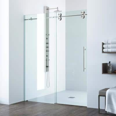 Elan 60 to 64 in. x 74 in. Frameless Sliding Shower Door in Stainless Steel with Clear Glass and Handle
