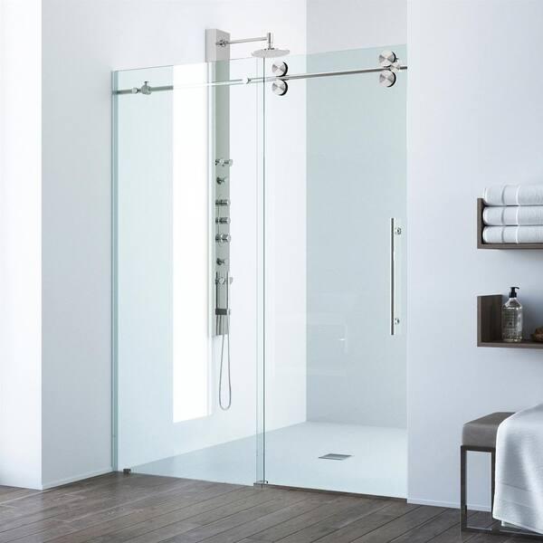 H Sliding Frameless Shower Door, Shower Stall Glass Doors Home Depot