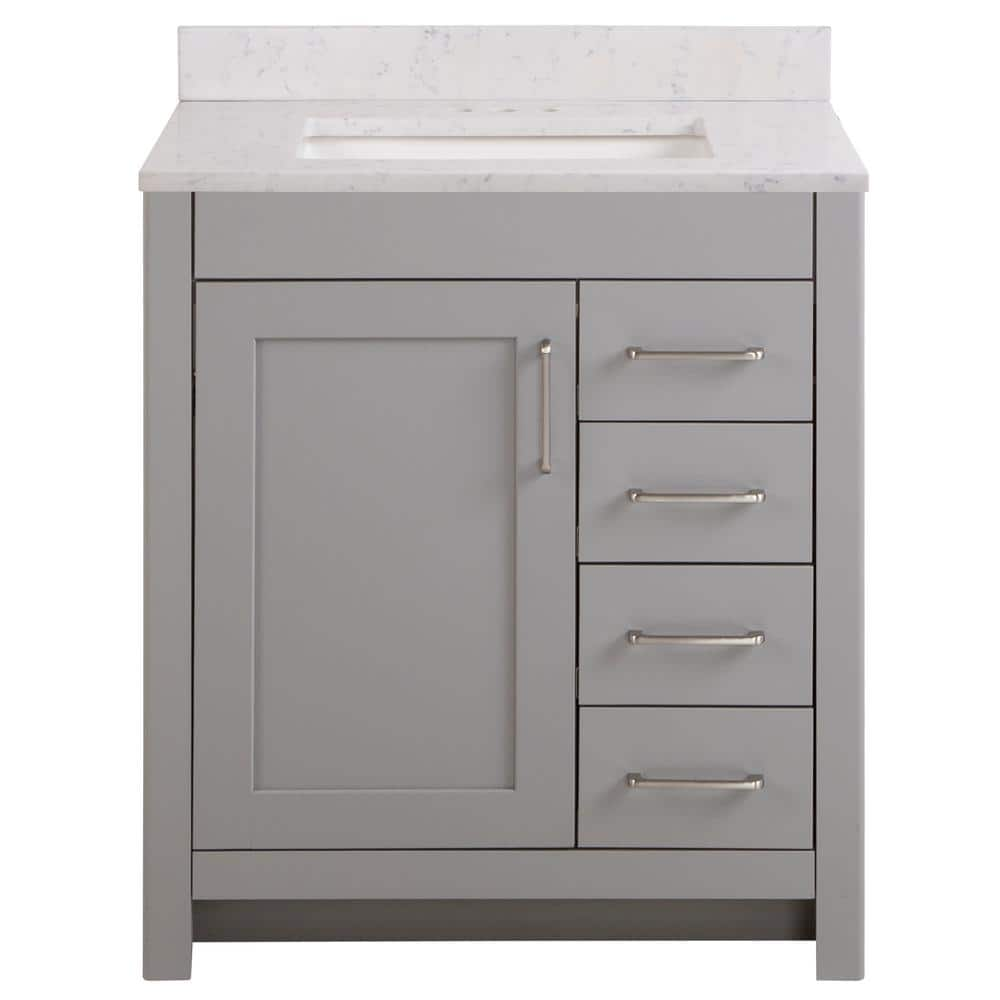 Home Decorators Collection Westcourt 31 In W X 22 In D Bath Vanity In Sterling Gray With Stone Effect Vanity Top In Pulsar With White Sink Wt30p2v3 St The Home Depot