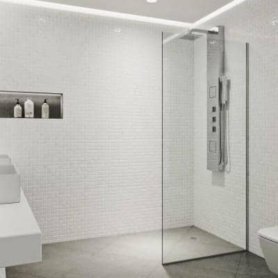 Zenith 34 in. W x 74 in. H Fixed Frameless Shower Door in Chrome with Clear Glass