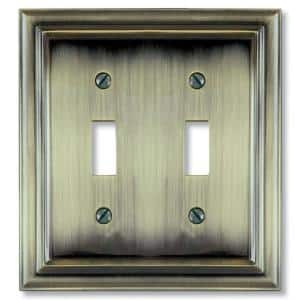 Continental 2 Gang Toggle Metal Wall Plate - Brushed Brass