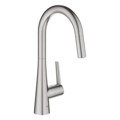 Zedra Single-Handle Pull-Out Sprayer Kitchen Faucet with Dual Spray in SuperSteel Infinity Finish